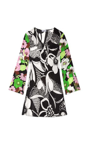 Julie- Abstract 60's Floral Swirl Long Sleeved Mini Dress