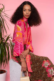 Moss - Pink Psychedelic Butterfly Blouse With Necktie