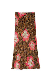Kelly - Hawaii Giraffe - Camel Coral Midi Slip Skirt