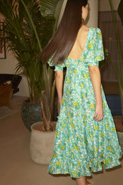 Kiara - 60s Floral Mustard, Blue, Green Scoop Neck Prairie Dress