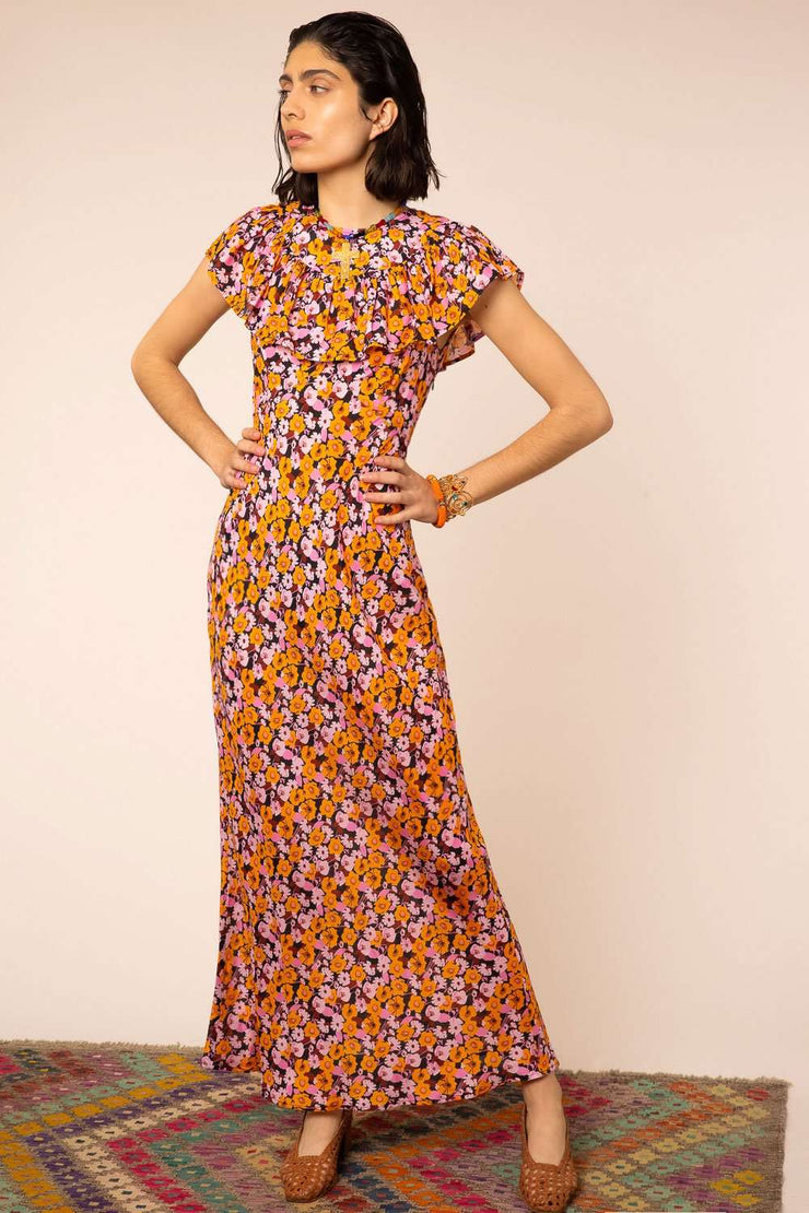 Lacey - Abstract 60's Floral Frill Neck Midi Dress