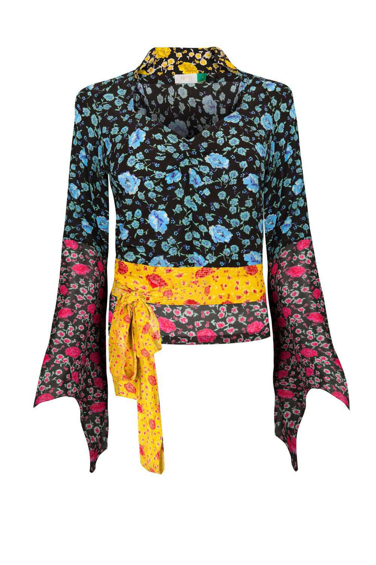 Lavinia - Mixed Micro Floral Floaty Sleeved Top