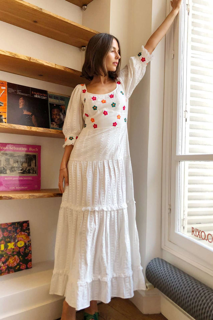 Loretta - Floral Embroidery Short Sleeve Midaxi Dress