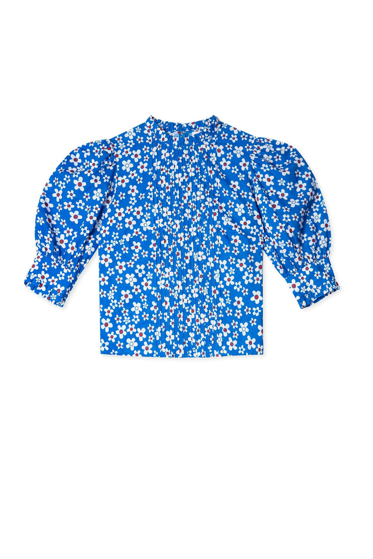 Mandy - Micro Mod Floral Blue Long Sleeved Top