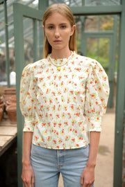 Mandy - Garden Ditsy Cream Puff Sleeve Top