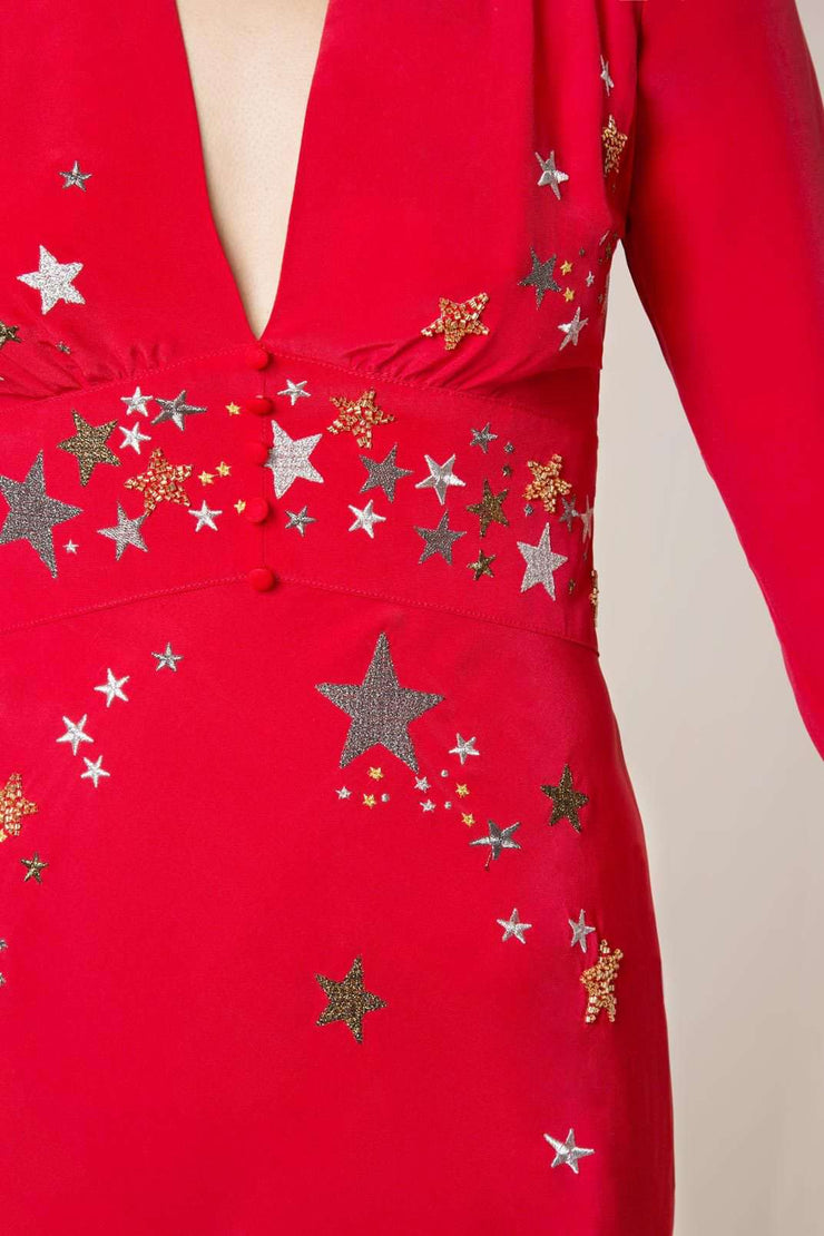 Margo - Red Star Embroidery V-Neck Dress