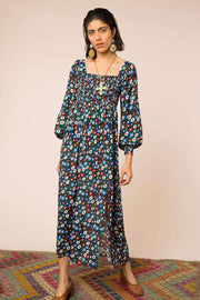 Marie - Retro Micro Floral Blue Green Red Long Sleeved Midi Dress