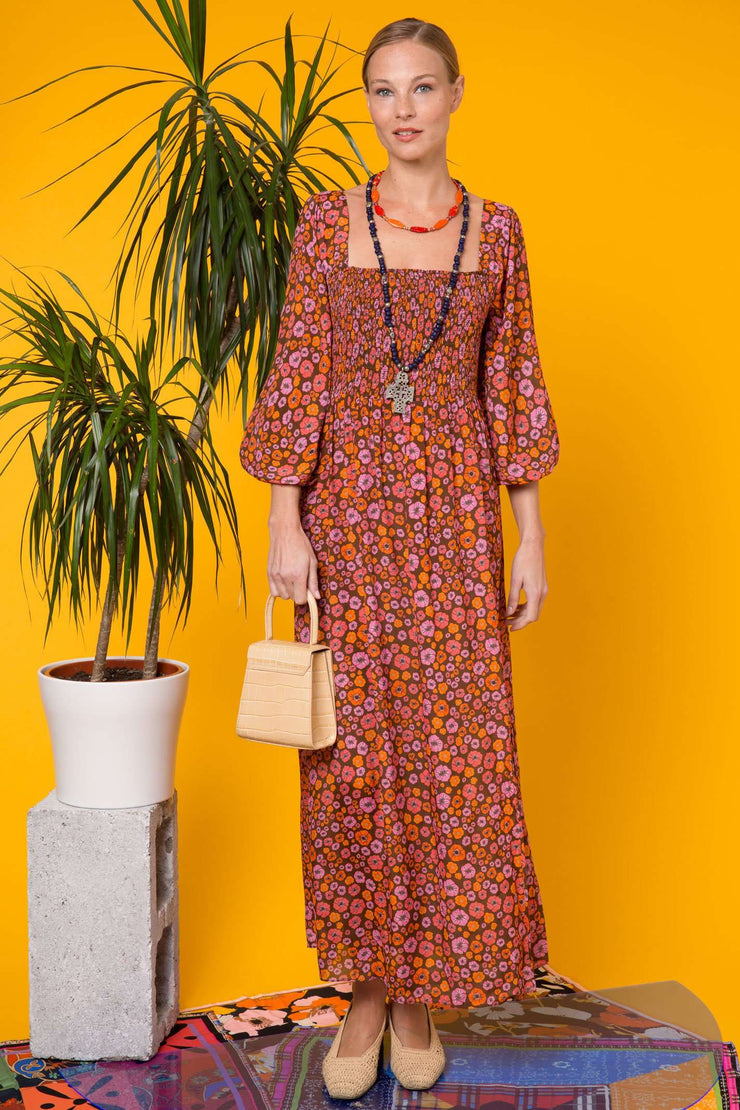 Marie - Brown Coral Psychedelic Floral Long Sleeve Midaxi Dress