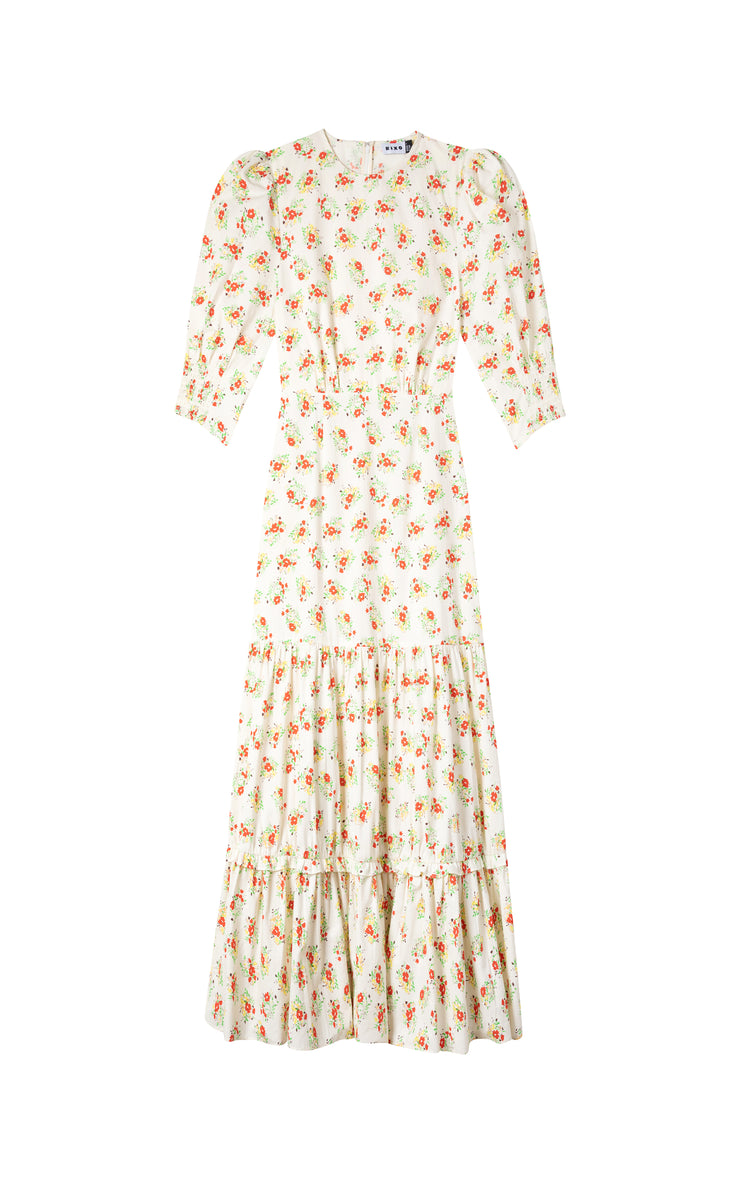 Matilda - Garden Ditsy Cream Midi Tiered Dress