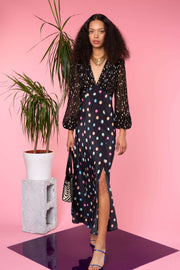 Melanie - Watercolour Spot - Black Pastel Long Sleeve Midi Dress