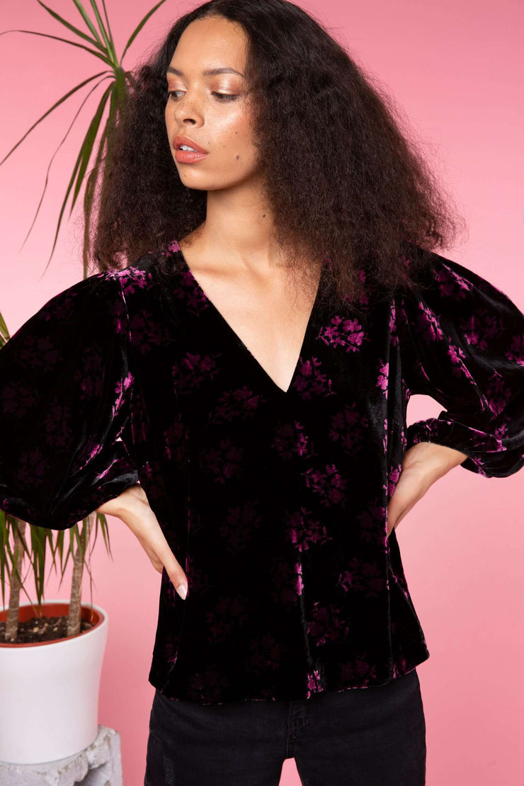 Millie - Bunch Shadow Floral - Black Pink Puff Sleeve Top