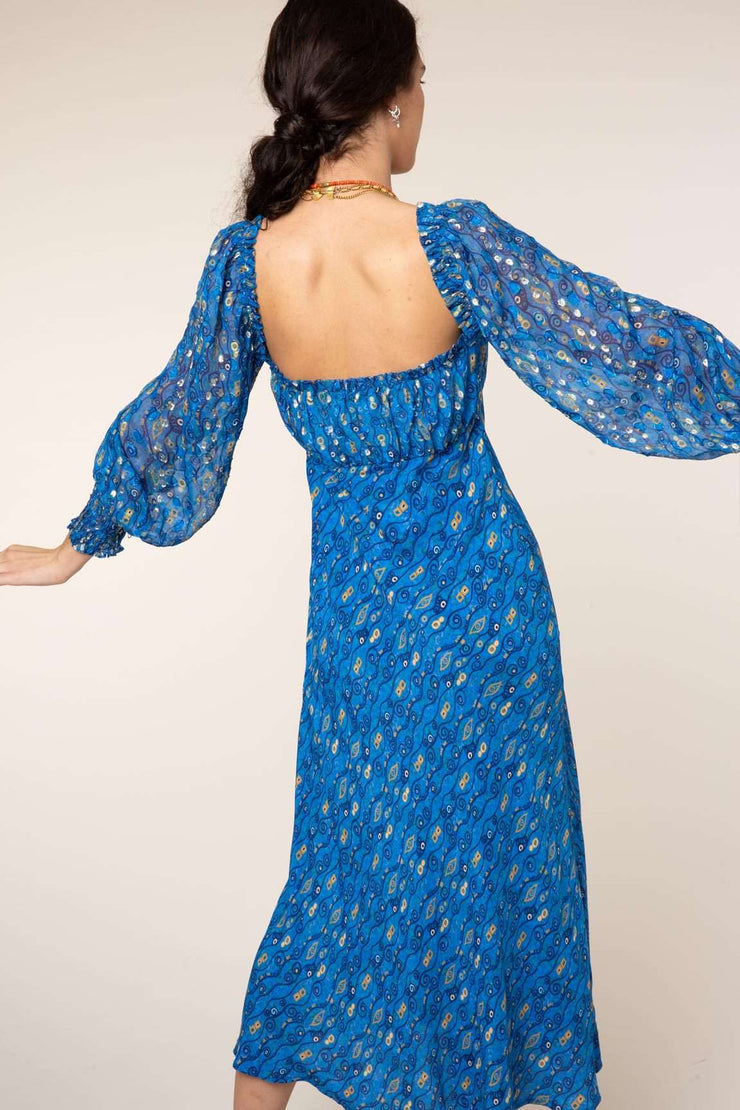 Miriam - Klimt Eye Wave Long Sleeve Midi Dress