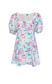 Morgan - Teal Italian Floral Puff Sleeve Mini Dress