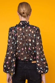 Moss - Watercolour Spot Black Pastel Blouse With Necktie