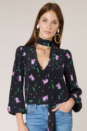 Moss - Purple Spot Tulip Blouse With Necktie