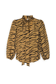 Moss - Camel Tiger Blouse With Necktie