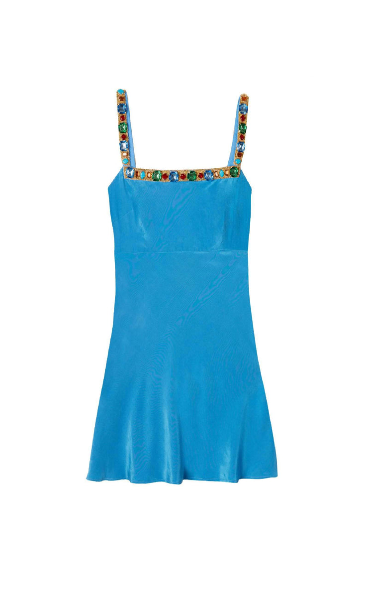 Nicole - Azure Blue Jewelled Embellished mini dress