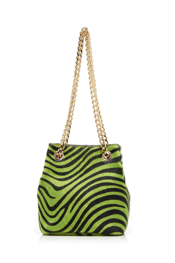 Olive - Green Black Zebra Mini Drawstring Bag