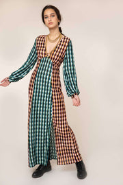 Phoebe - Retro Spot Mix Long Sleeve Midi Dress With Slit