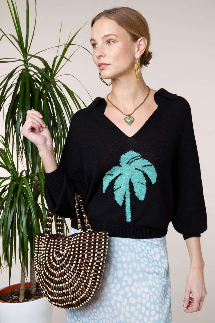 Poppy - Black Green Palm Tree Motif