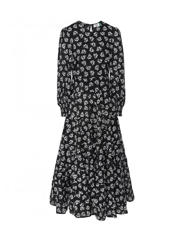 Pip - Bunch Shadow Floral - Black White Long Sleeve Midi Dress