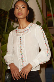 Rachel - Ivory Floral Embroidery Long Sleeve Top