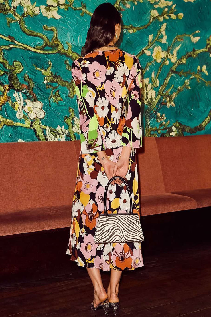 Rae - Abstract 60's Floral Swirl Long Sleeved Midaxi Dress