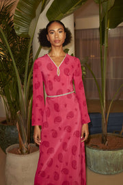 Rae - Paisley Print Pink Long Sleeve Midaxi Dress