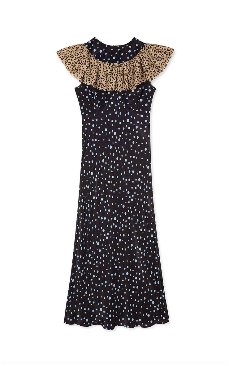 Lacey - Leopard Bubble Spot Frill Neck Midi Dress