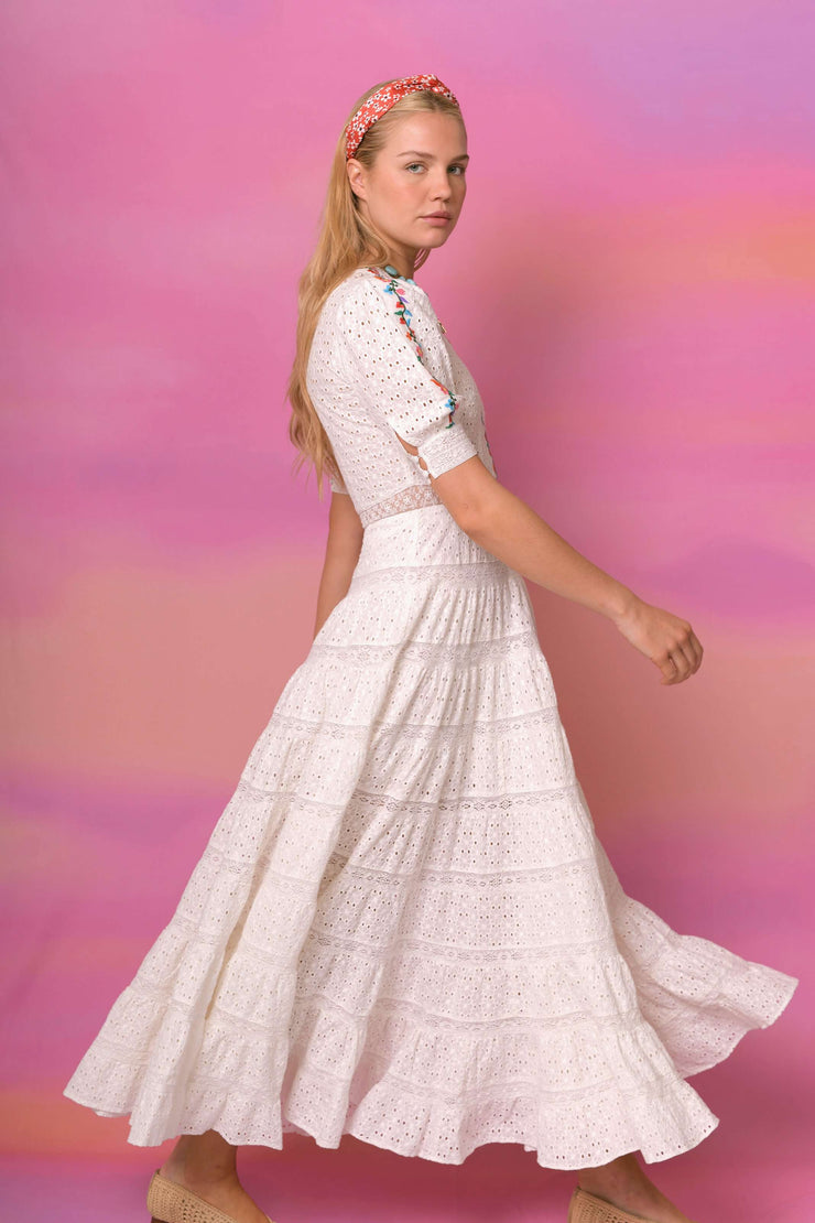 Skylar - Ivory with Embroidery Midaxi Dress