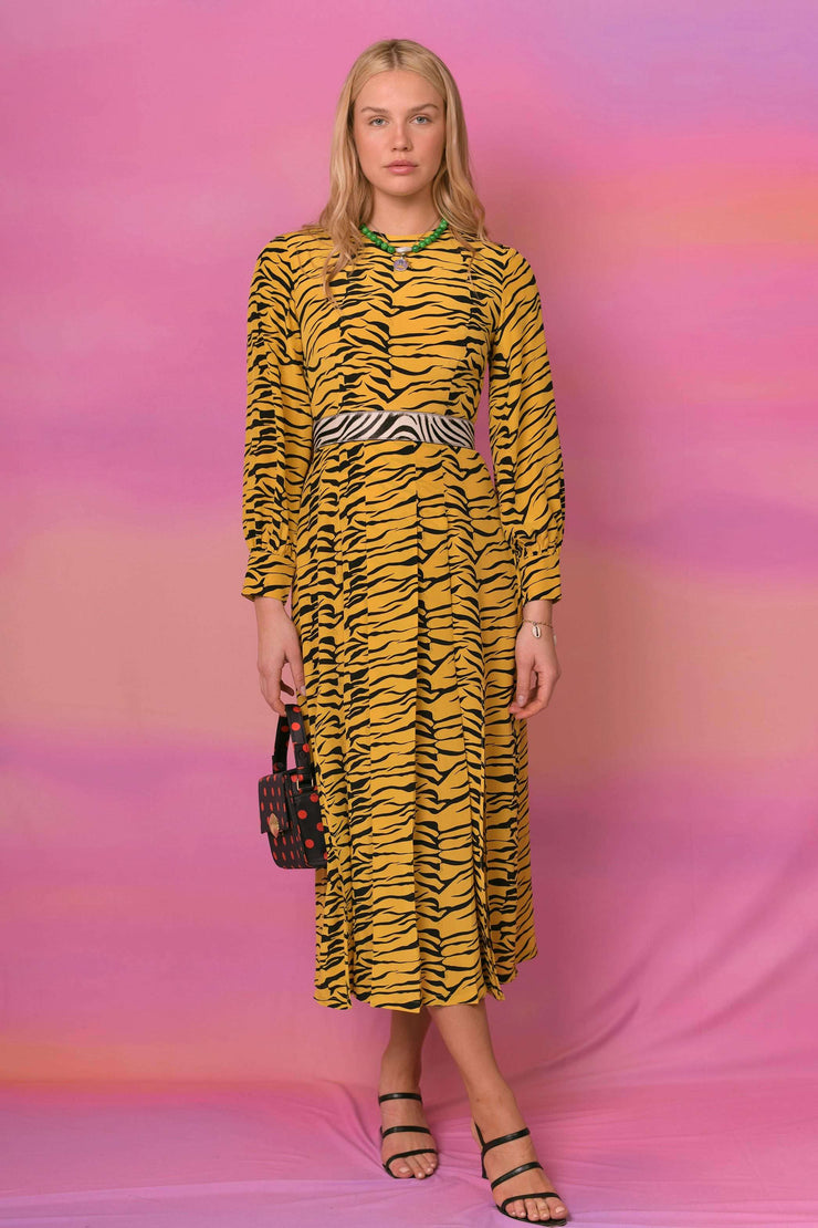 Emma - Mustard Tiger Long Sleeve Midi Dress