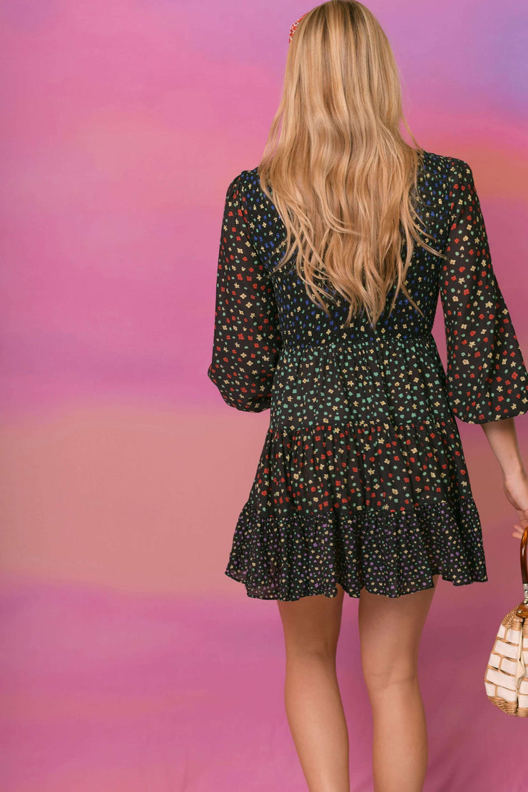 Sasha - Mixed Ditsy Floral Long Sleeve Mini Dress