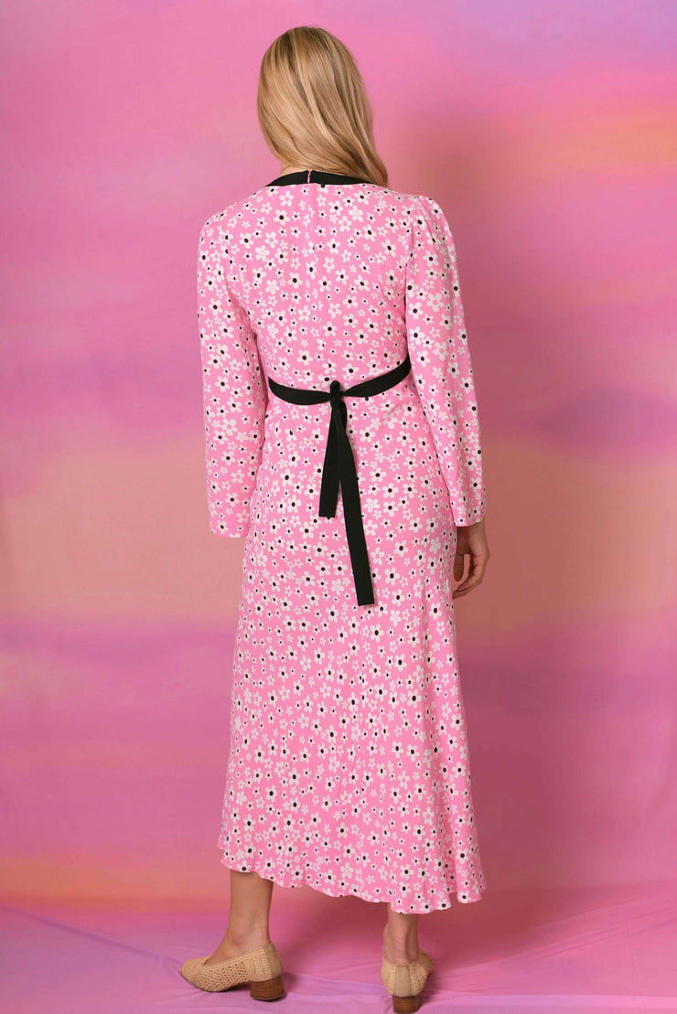 Tania-Micro Mod Floral Pink Long Sleeved Midi Dress with tie