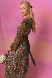 Trisha - Paisley Retro Floral Long Sleeved Midi Dress with Slit