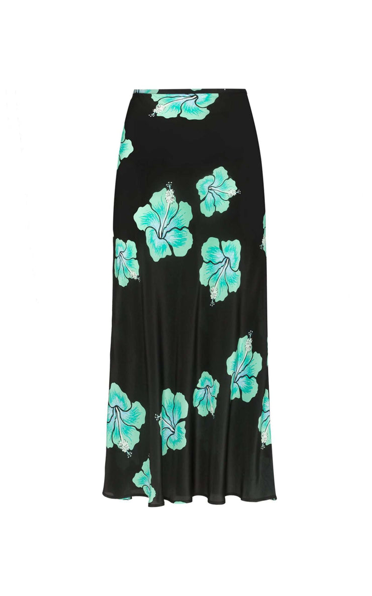 Kelly - Abstract Hawaiian Flower - Black Mint Midi Slip Skirt