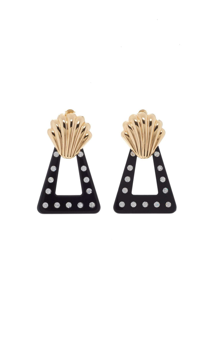 Helene - Gold Plated and Black Crystal Shell Earrings