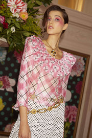 Layla - Pink Tartan Scoop neck top