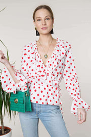 Roisin - Red Maxi Spot Ruffle Wrap Top