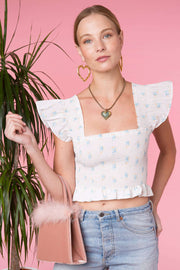 Romy - White Buttercup Bunch Frill Crop Top