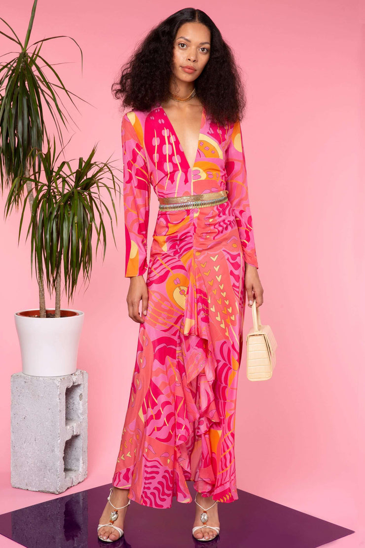 Rose - Pink Psychedelic Butterfly Long Sleeve Midi Dress