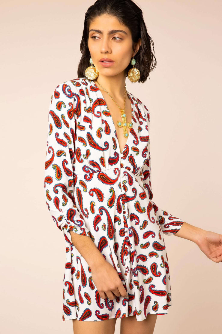 Sabien - White Paisley Long Sleeve Mini Dress