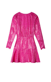 Clarisse - Hot Pink Long Sleeve Mini Dress