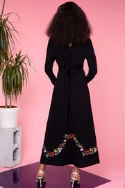 Sally - Black with Embroidery Embroidered Midi Dress