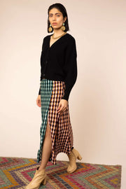 Sandra - Retro Spot Mix Midi Skirt