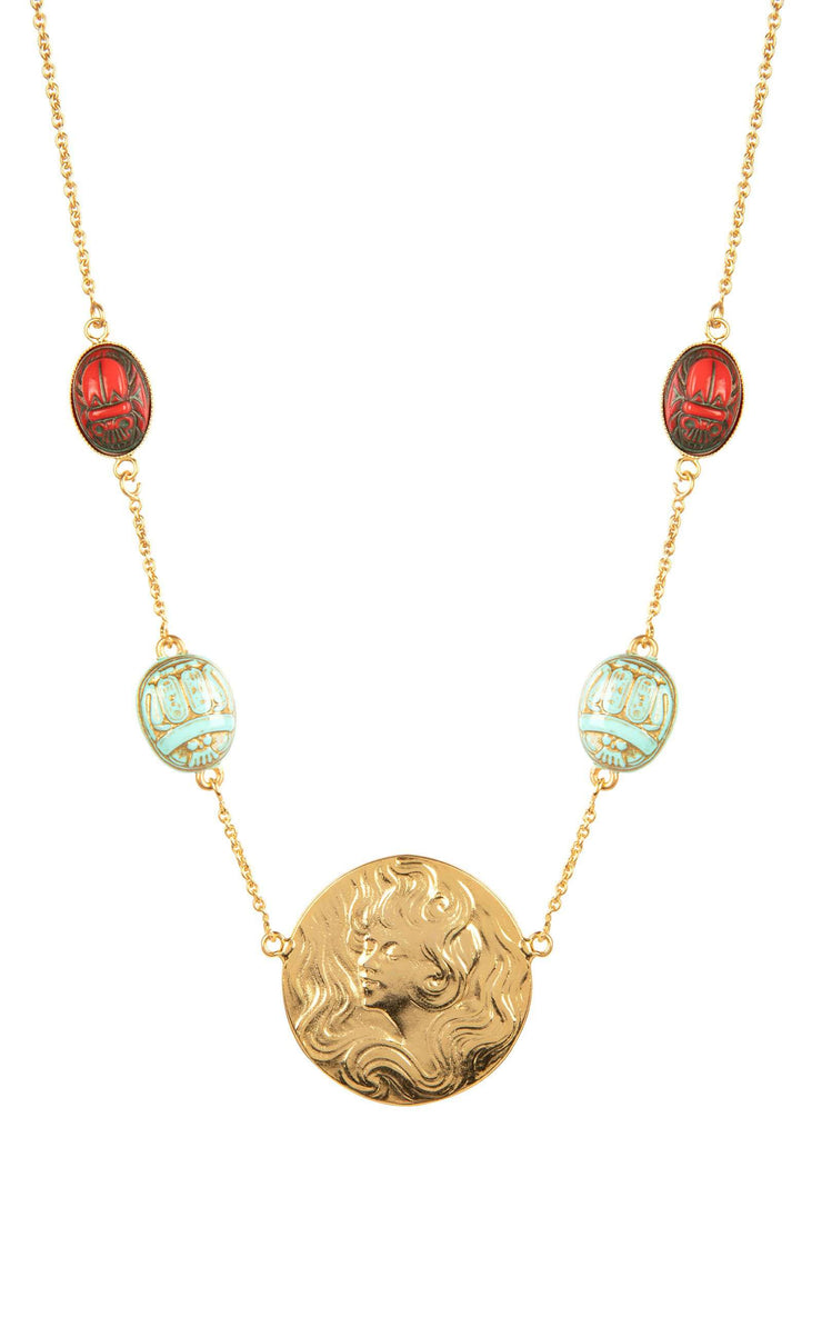 Saturn - Gold Plated And Turquoise Medallion Necklace