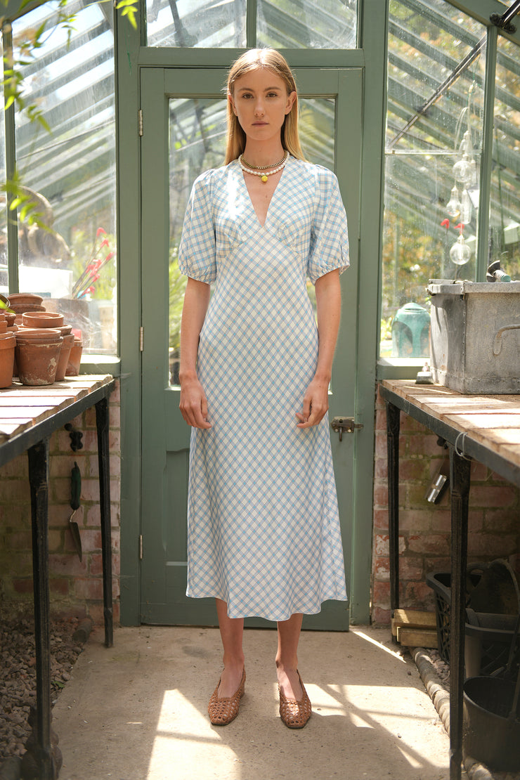 Steph - Blue Grey Check Midi Dress