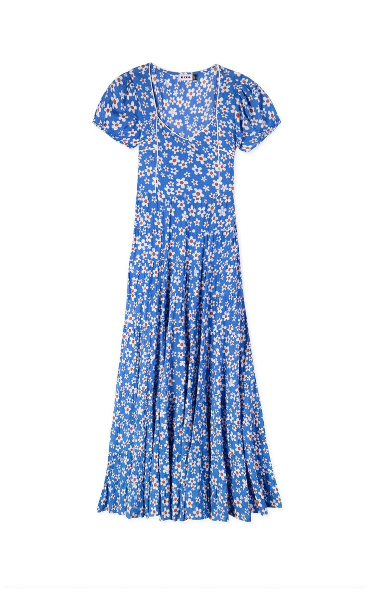 Tamara - Micro Mod Floral Short Sleeve Midaxi Dress