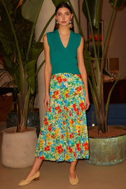 Tina-Retro Garden Pleated Midi Skirt