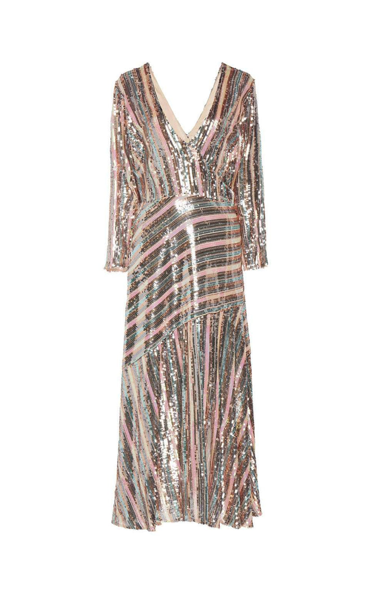 Tyra - Sequin Stripe Long Sleeve Mock Wrap Midi Dress