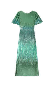 Venus - Turquoise Dip Dye Midi Dress